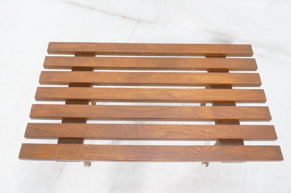 Small Modernist Slat Bench Low Table. Peg legs wi - 4