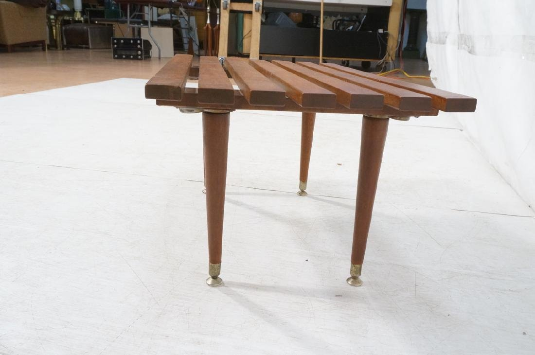 Small Modernist Slat Bench Low Table. Peg legs wi - 5