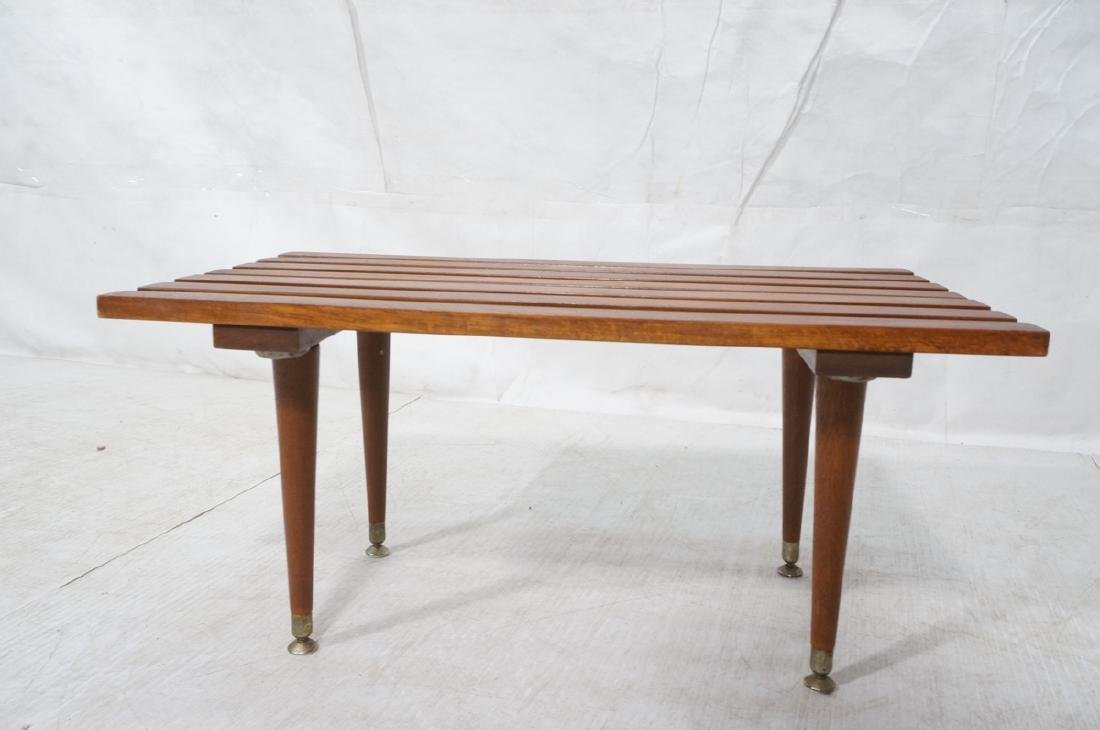 Small Modernist Slat Bench Low Table. Peg legs wi - 6
