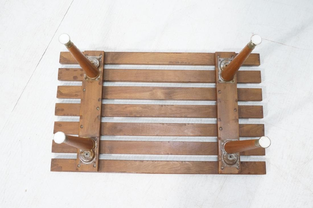 Small Modernist Slat Bench Low Table. Peg legs wi - 7