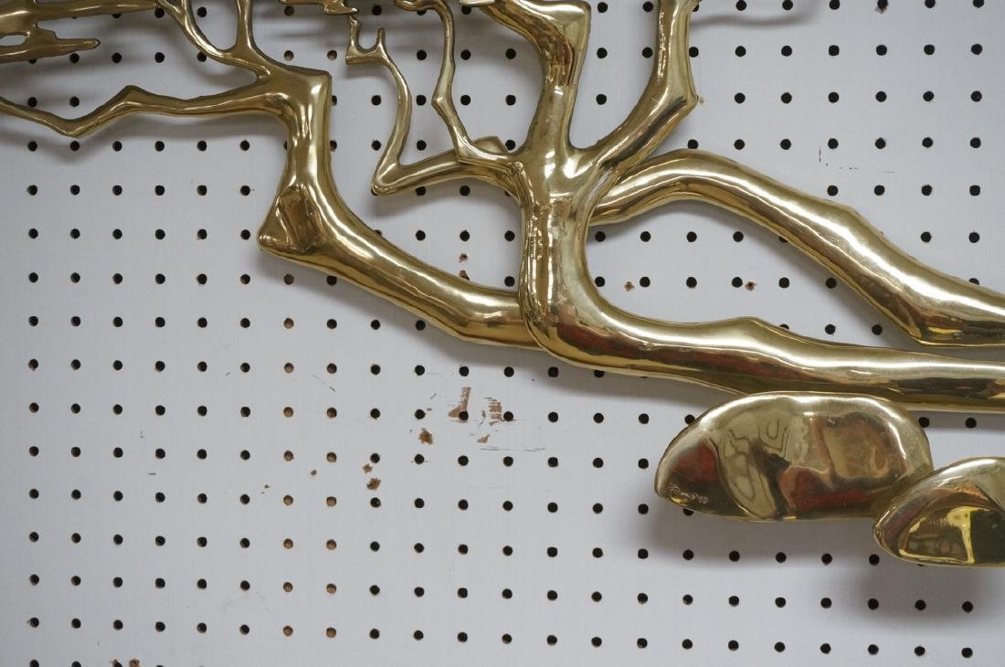 Modernist Signed Brass Ming Tree Wall Sculpture. - 6