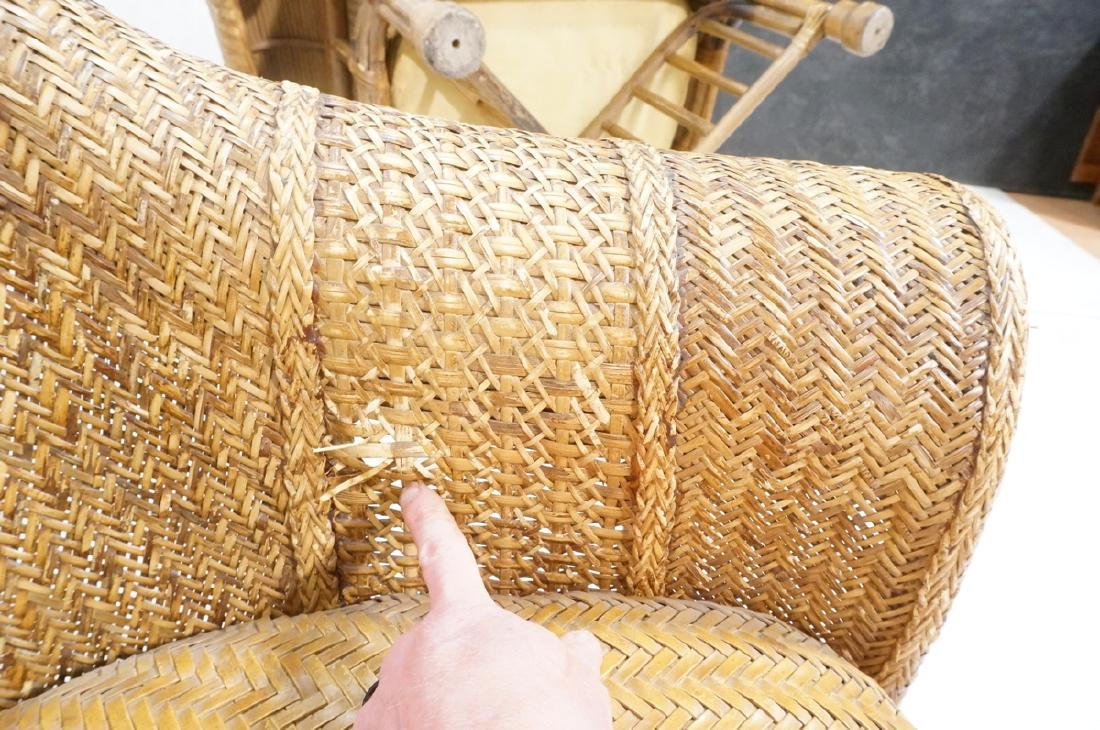 Pr Tall Arch Back Woven Rattan Lounge Chairs. Scr - 10