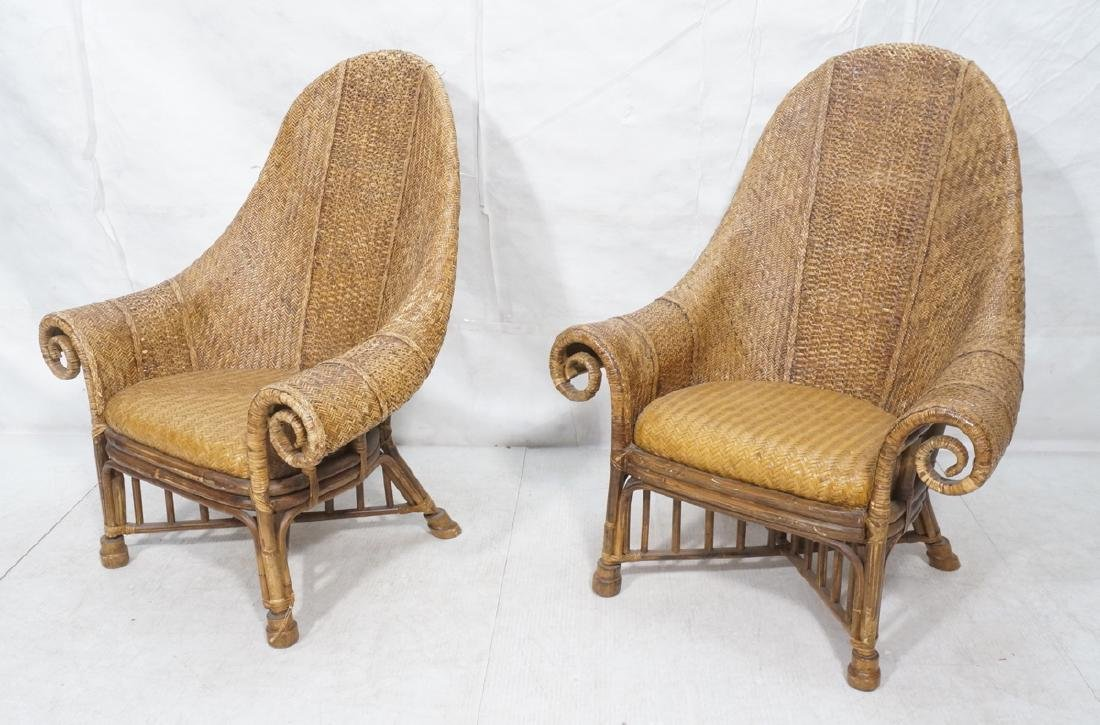 Pr Tall Arch Back Woven Rattan Lounge Chairs. Scr