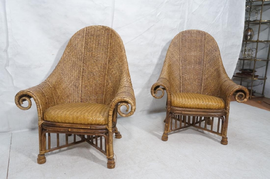Pr Tall Arch Back Woven Rattan Lounge Chairs. Scr - 2