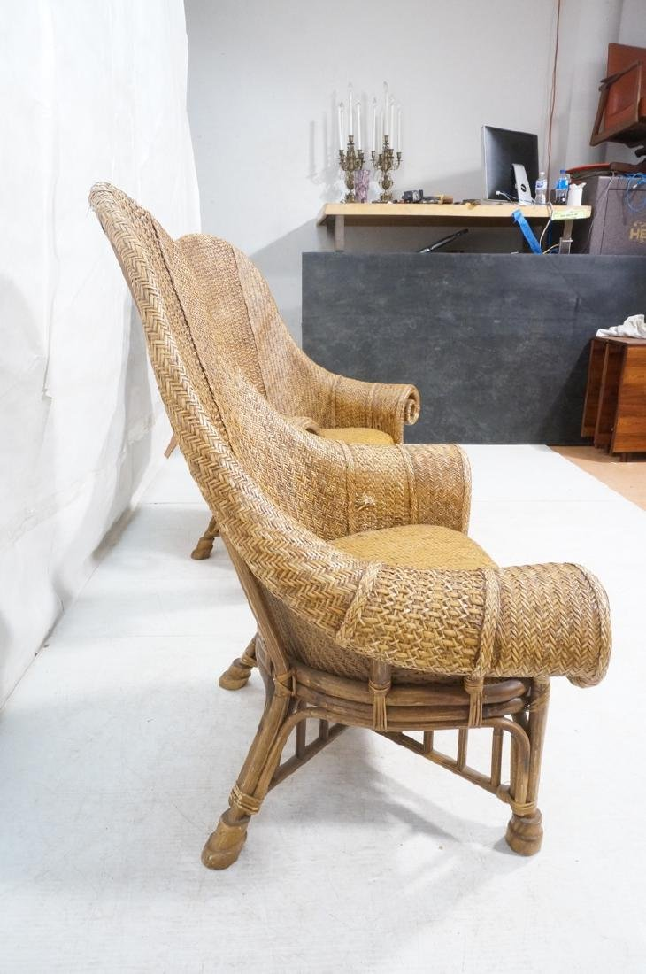 Pr Tall Arch Back Woven Rattan Lounge Chairs. Scr - 3