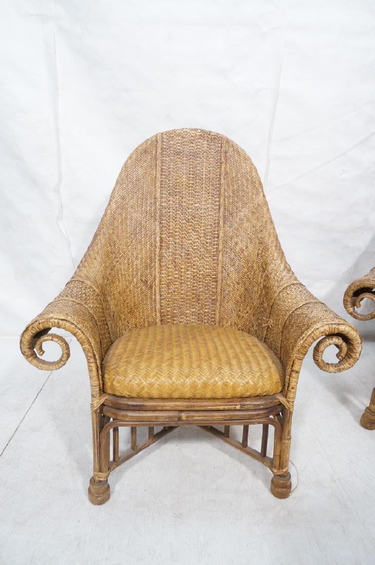 Pr Tall Arch Back Woven Rattan Lounge Chairs. Scr - 4