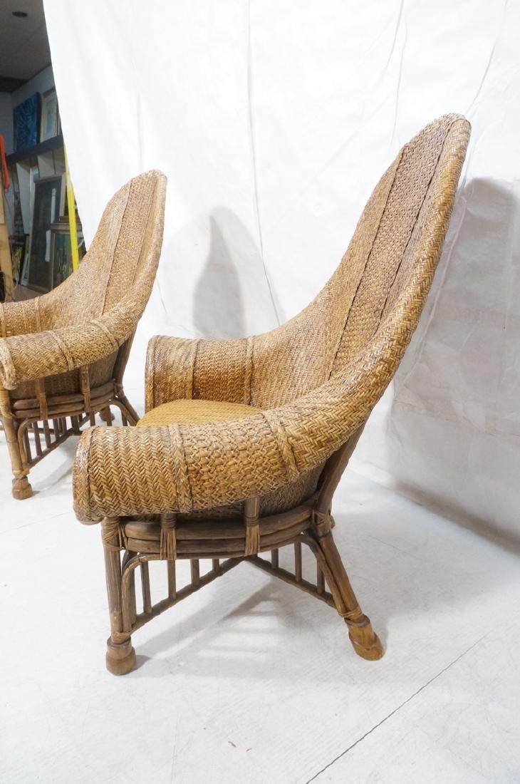 Pr Tall Arch Back Woven Rattan Lounge Chairs. Scr - 5