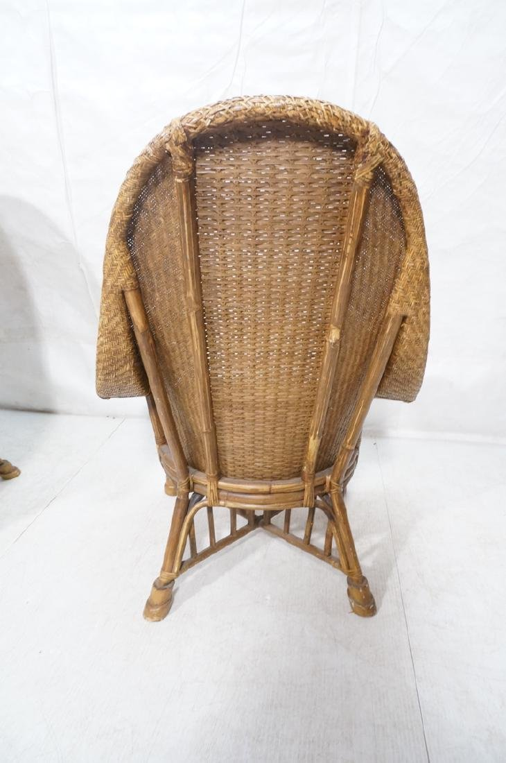 Pr Tall Arch Back Woven Rattan Lounge Chairs. Scr - 6