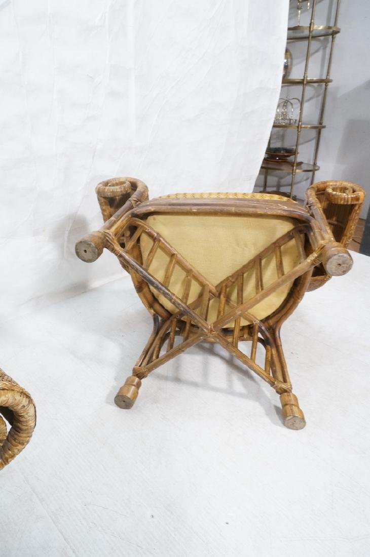 Pr Tall Arch Back Woven Rattan Lounge Chairs. Scr - 7