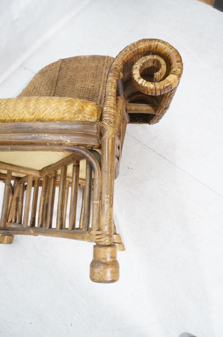 Pr Tall Arch Back Woven Rattan Lounge Chairs. Scr - 8