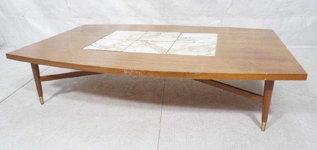 Rosewood Marble Tile Top Oversized Coffee Table.