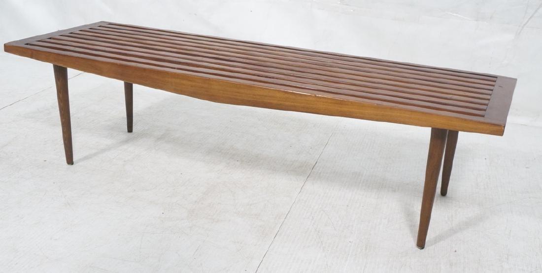 Dark Wood Modernist Slat Bench Coffee Table. Narr
