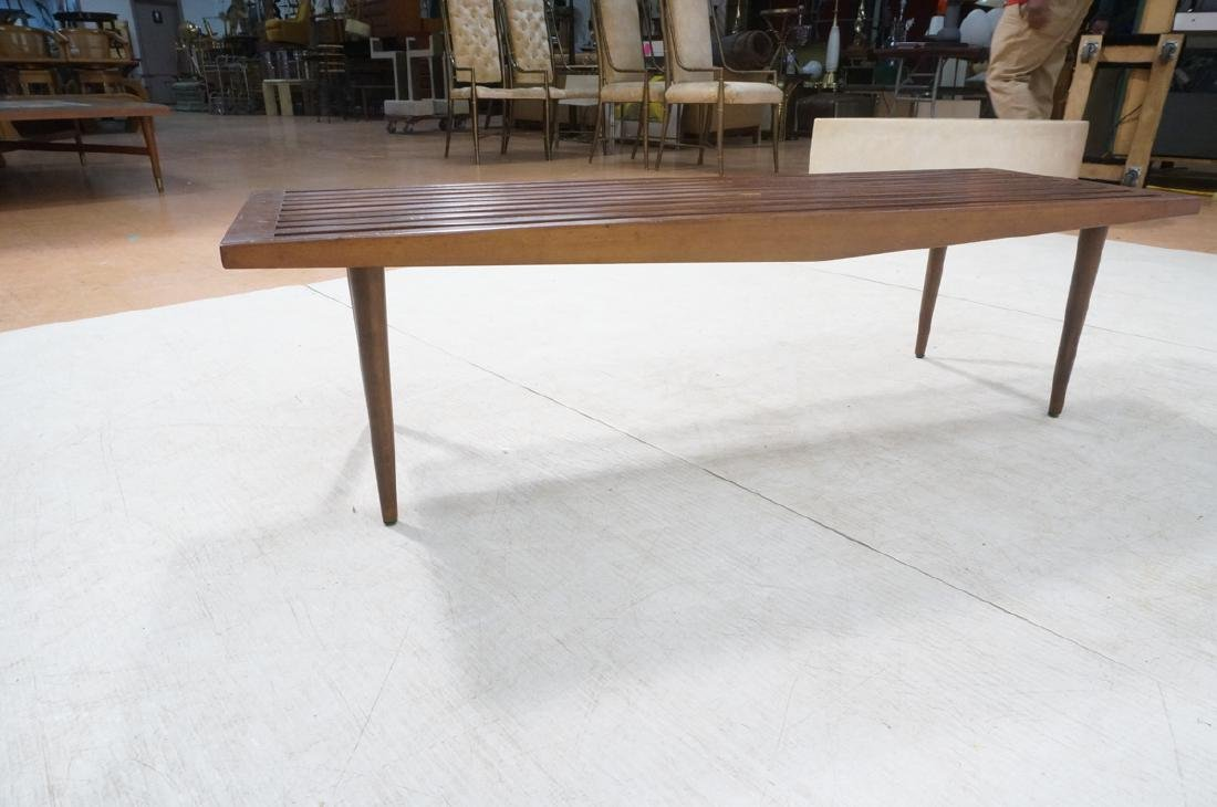 Dark Wood Modernist Slat Bench Coffee Table. Narr - 6