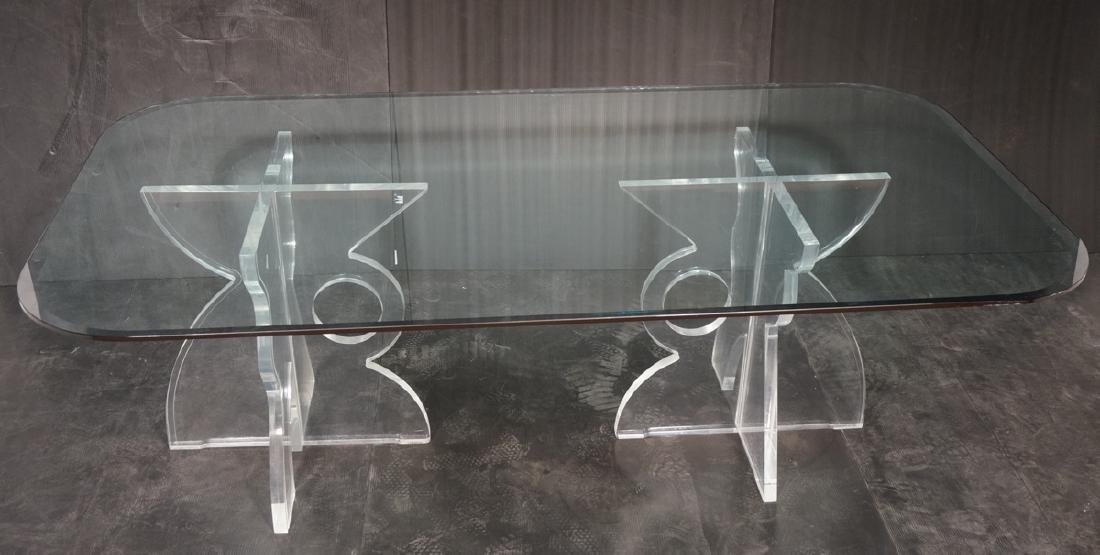 """Lg Glass Top Lucite Base Dining Table. 1.25"""" thic"""