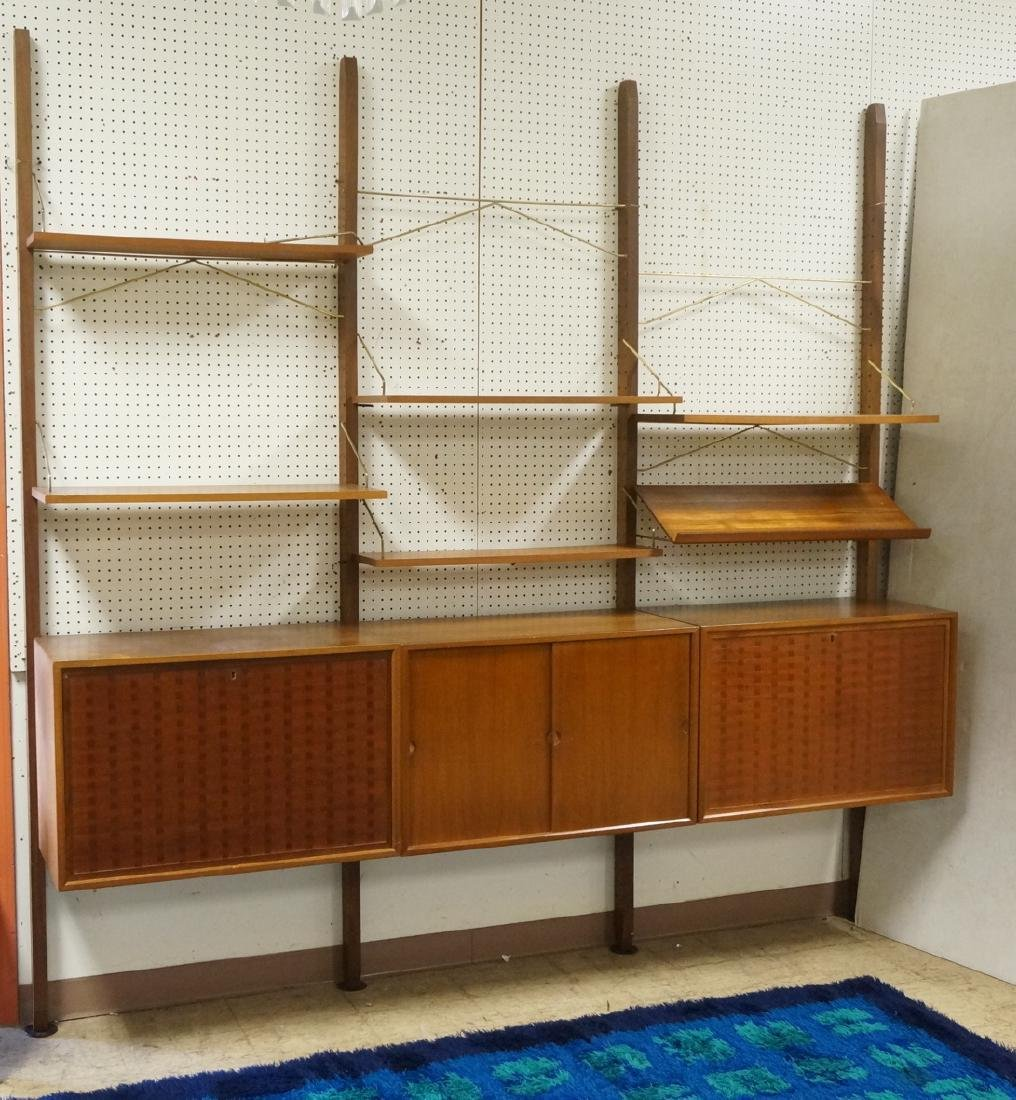 Danish Modern Teak Wall Unit. 6 uprights, 3 cabin