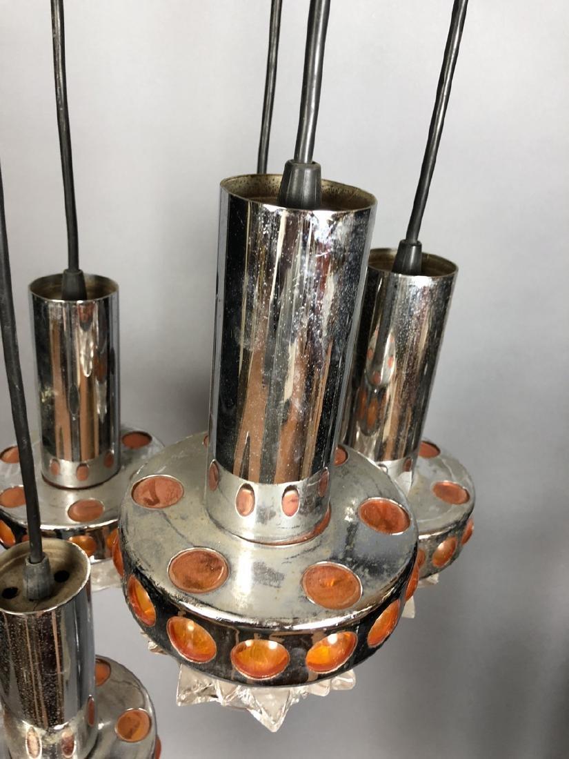 Modernist Chrome Orange Hanging Chandelier. 5 han - 4