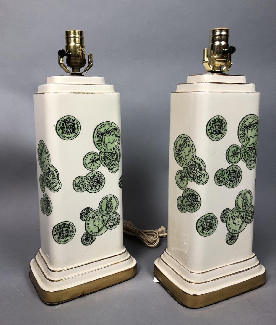 Pair Decorator Fornasetti Table Lamps.  Decorated