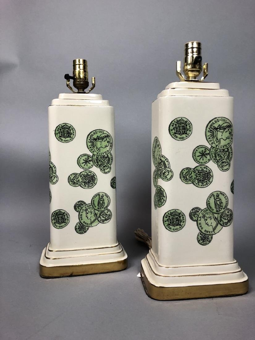 Pair Decorator Fornasetti Table Lamps.  Decorated - 2