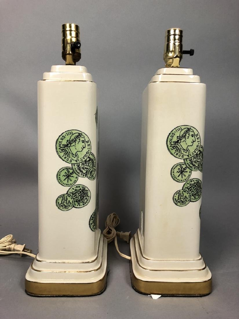 Pair Decorator Fornasetti Table Lamps.  Decorated - 3