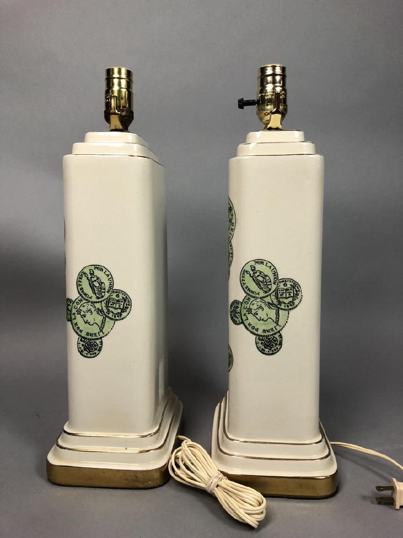 Pair Decorator Fornasetti Table Lamps.  Decorated - 5