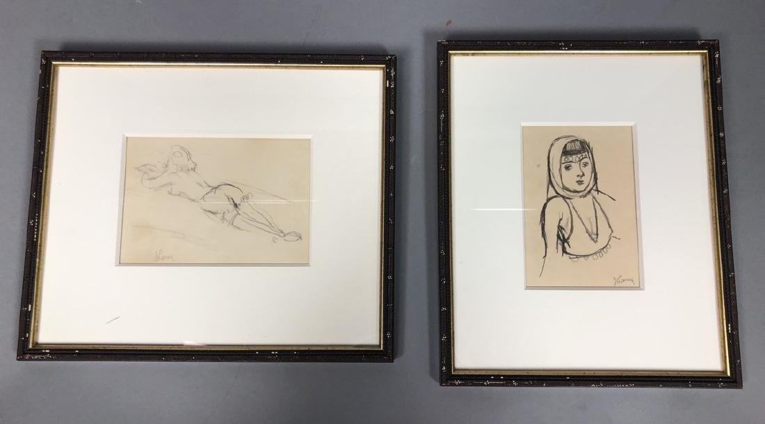 2 Small Jack Levine Drawings.   Framed under glas