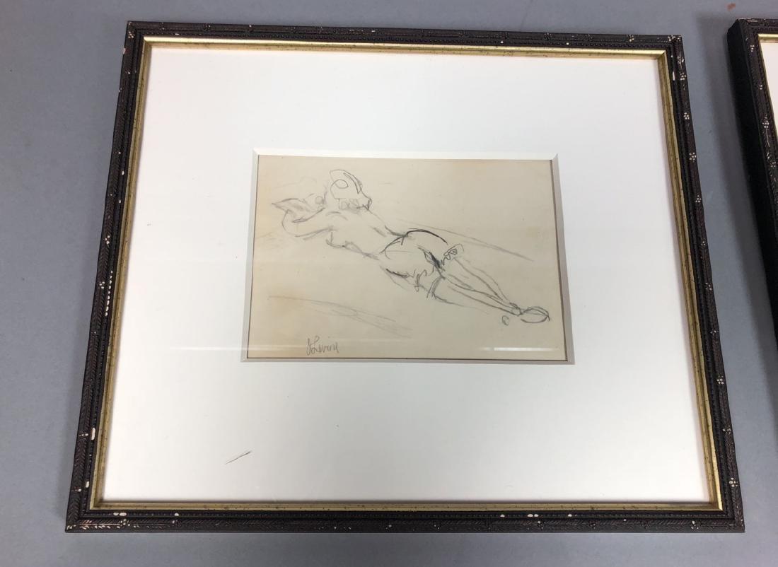 2 Small Jack Levine Drawings.   Framed under glas - 2