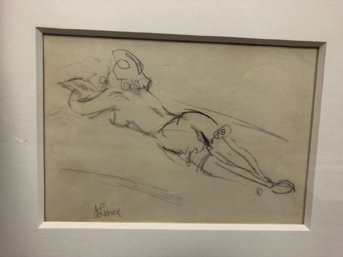 2 Small Jack Levine Drawings.   Framed under glas - 3