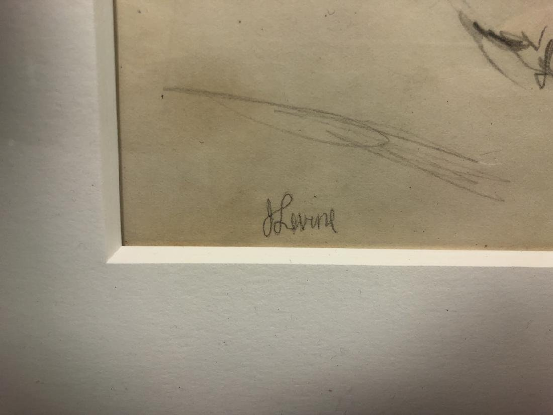 2 Small Jack Levine Drawings.   Framed under glas - 4