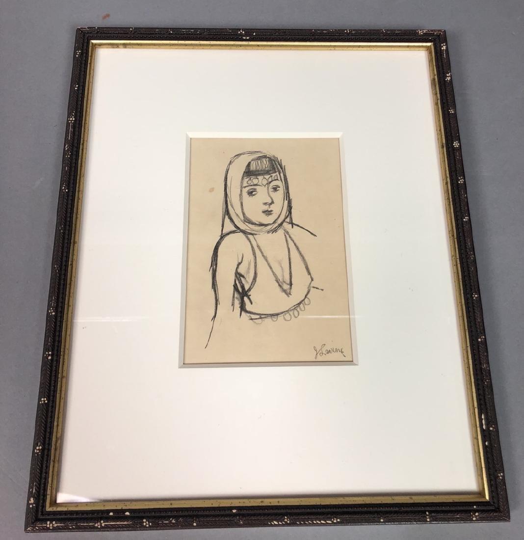 2 Small Jack Levine Drawings.   Framed under glas - 7