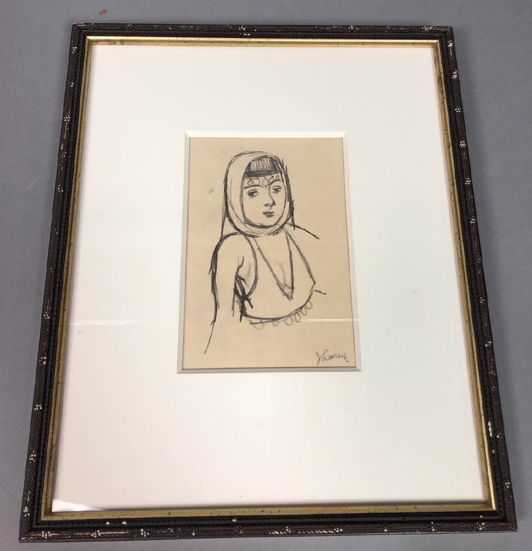 2 Small Jack Levine Drawings.   Framed under glas - 8