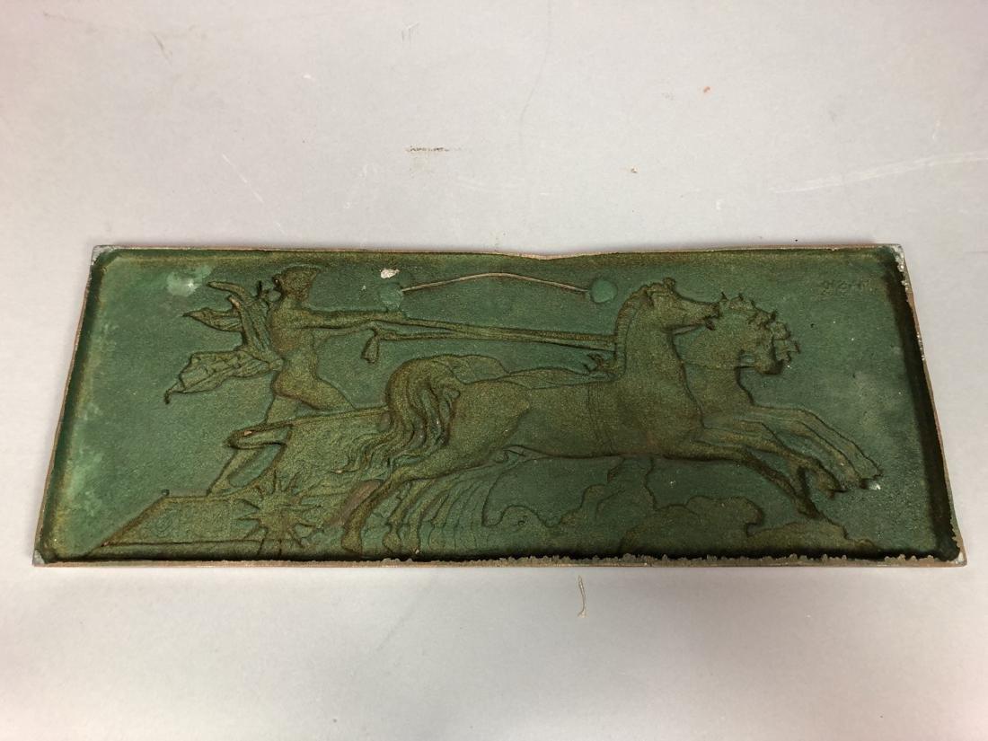 MASIO 44 Art Deco Copper Plaque of Chariot. - 10