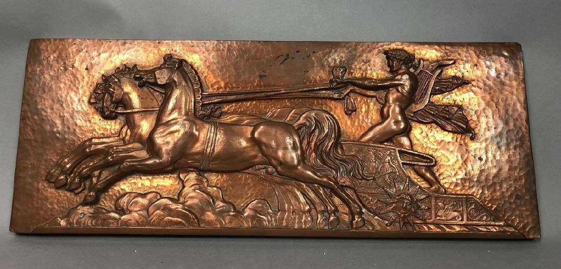 MASIO 44 Art Deco Copper Plaque of Chariot.
