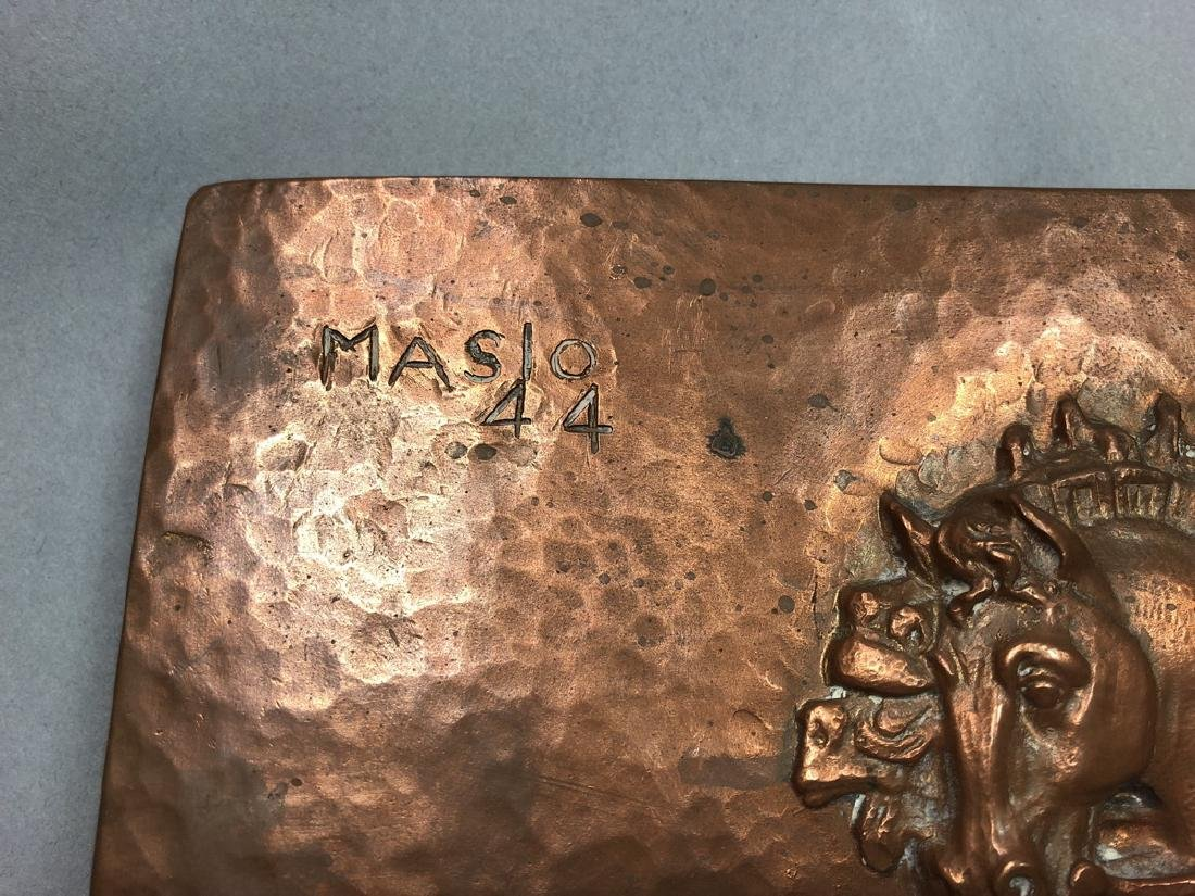 MASIO 44 Art Deco Copper Plaque of Chariot. - 2