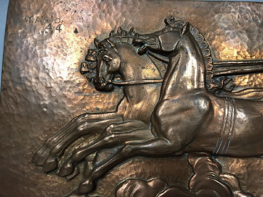 MASIO 44 Art Deco Copper Plaque of Chariot. - 3