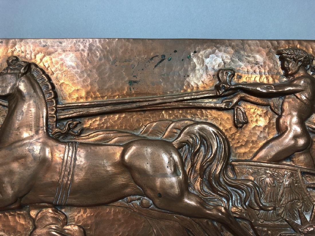 MASIO 44 Art Deco Copper Plaque of Chariot. - 6