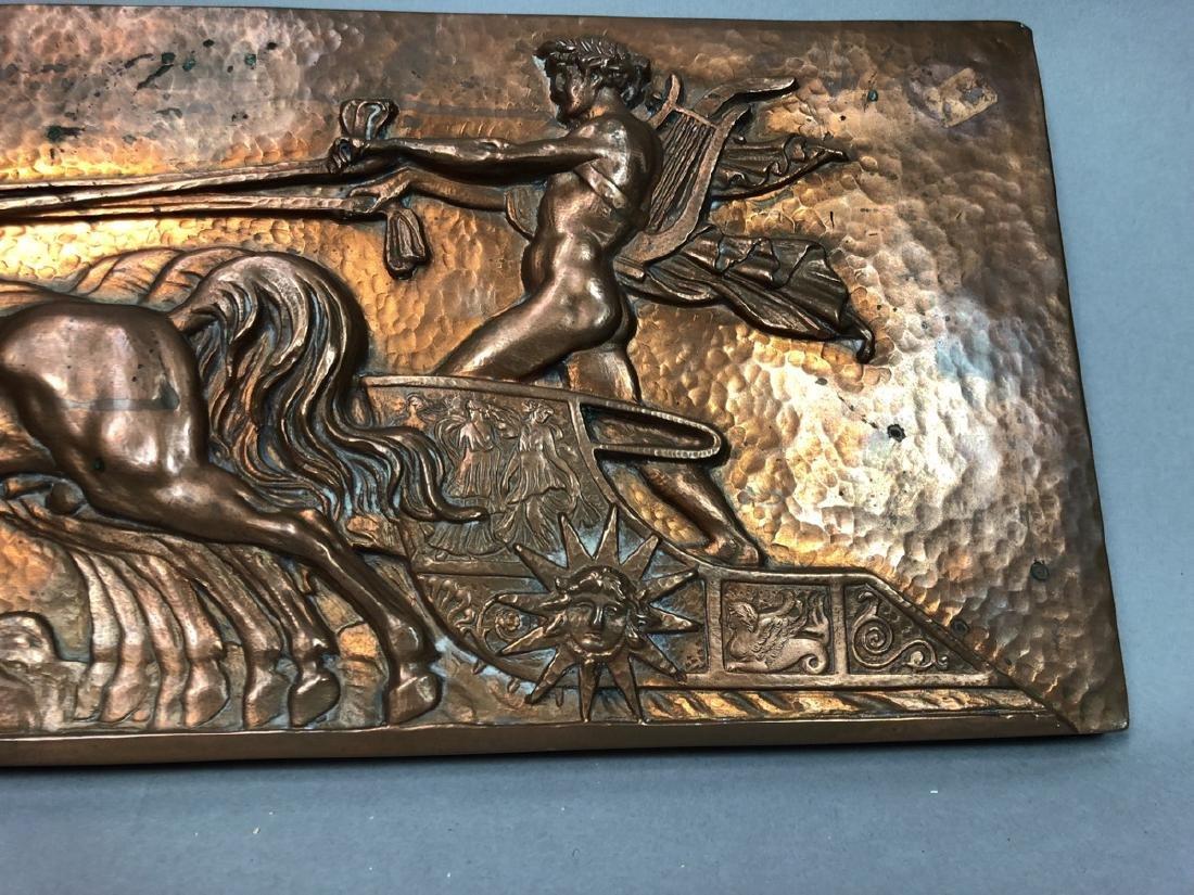 MASIO 44 Art Deco Copper Plaque of Chariot. - 9