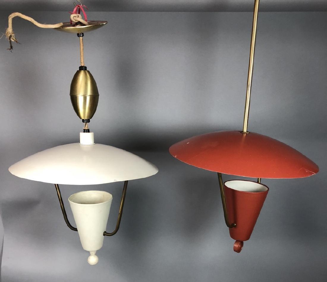 2pcs Vintage Italian Style Hanging Lamps.  Enamel