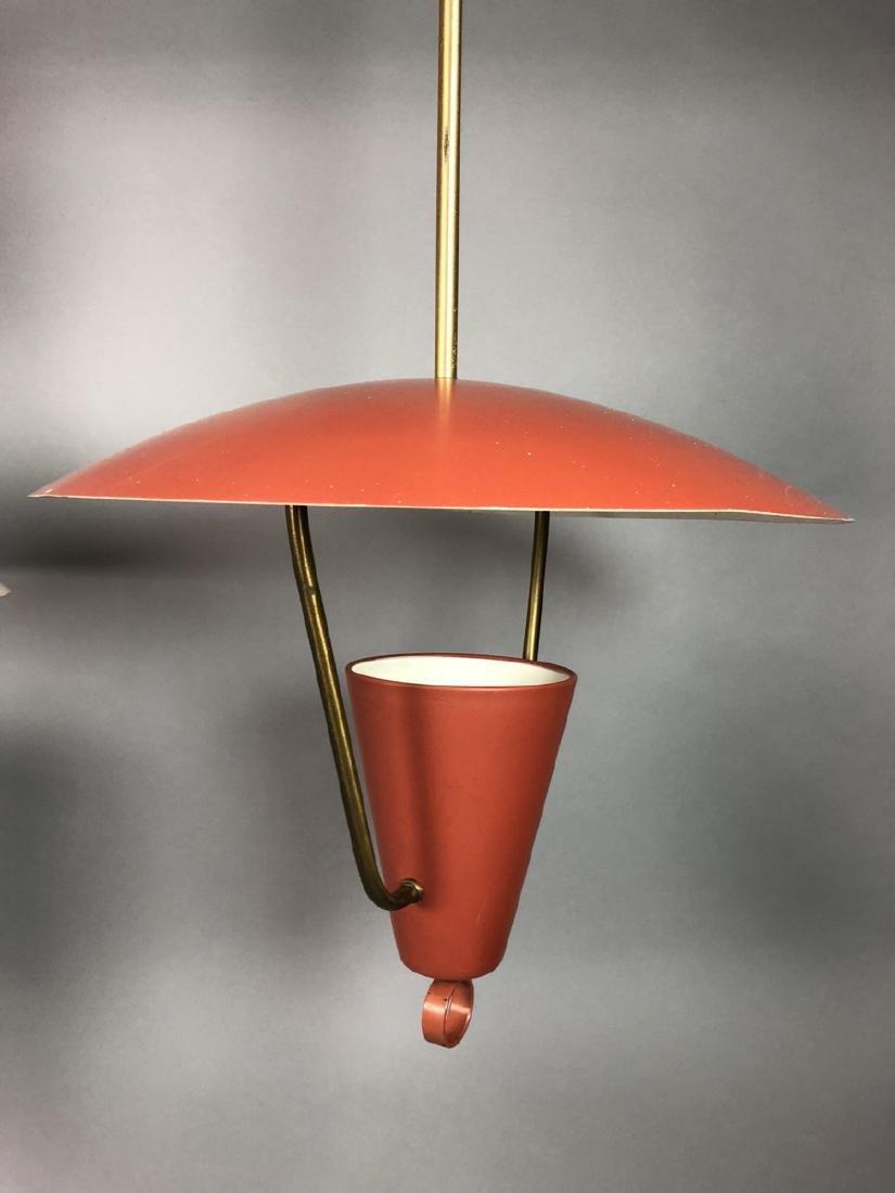 2pcs Vintage Italian Style Hanging Lamps.  Enamel - 2