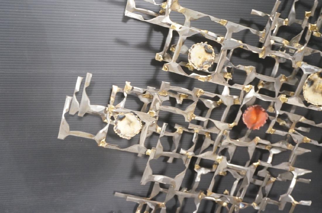 Brutalist Welded Steel Mixed Metal Wall Sculpture - 3