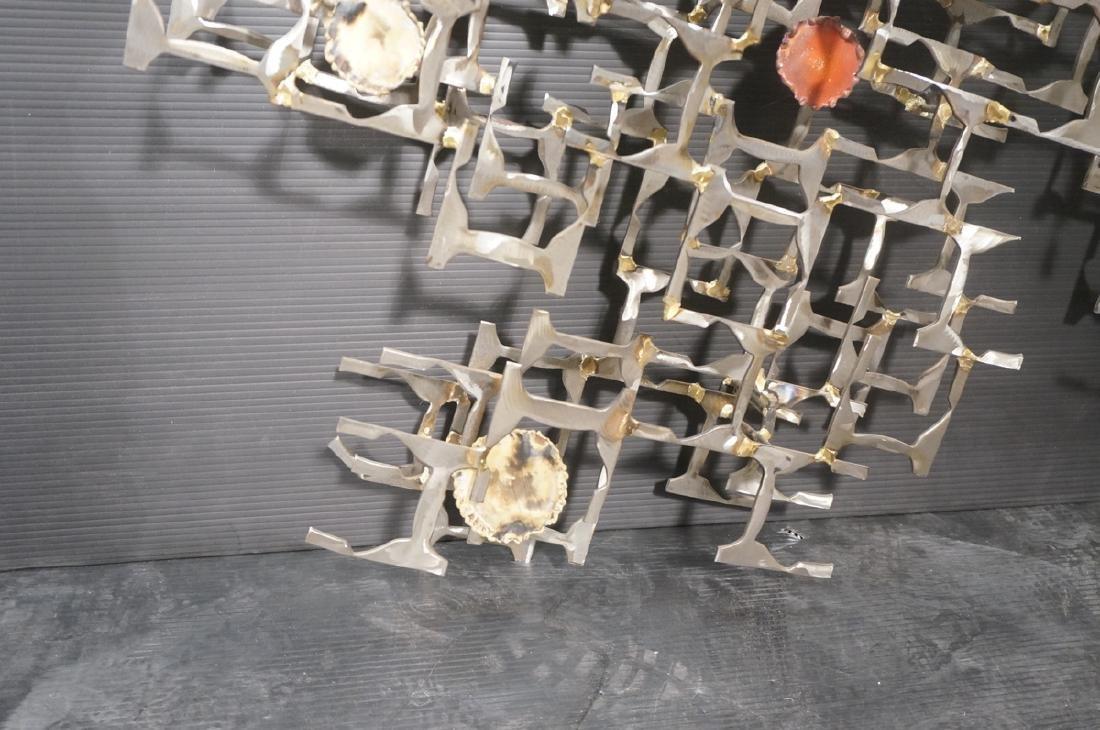 Brutalist Welded Steel Mixed Metal Wall Sculpture - 4