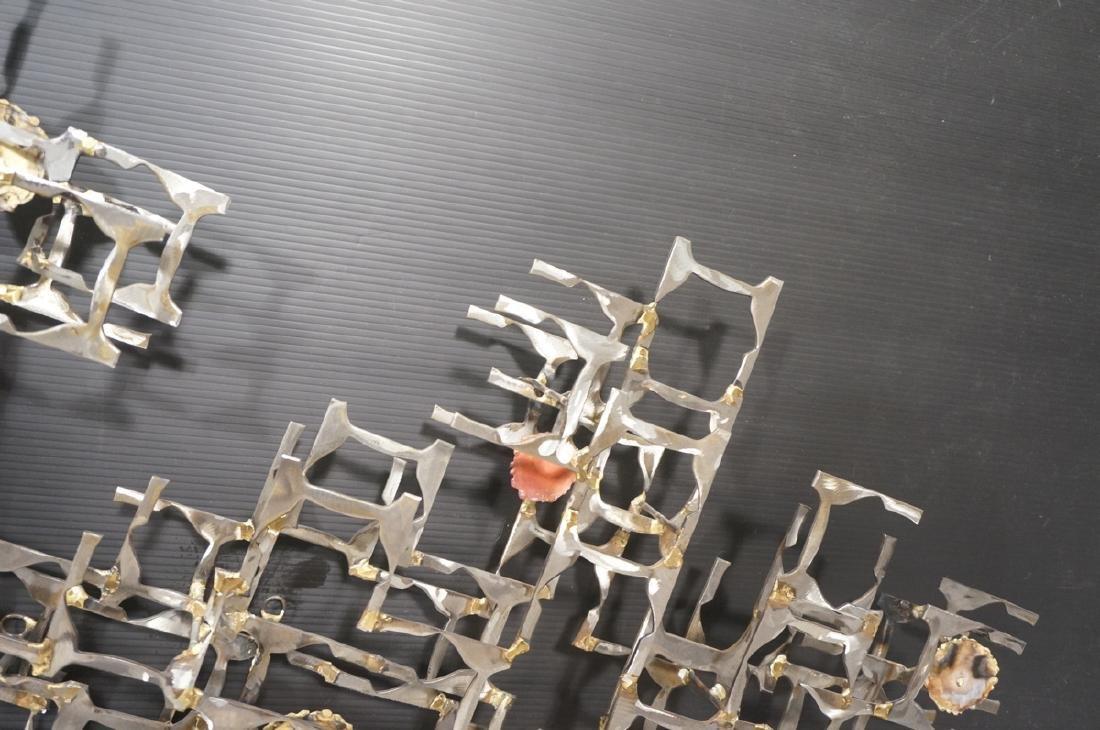 Brutalist Welded Steel Mixed Metal Wall Sculpture - 7