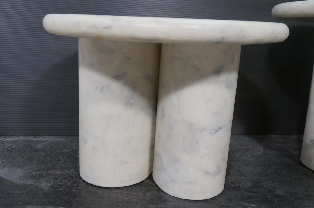 3 Faux Marble Resin Round Side Tables. 3 graduate - 3