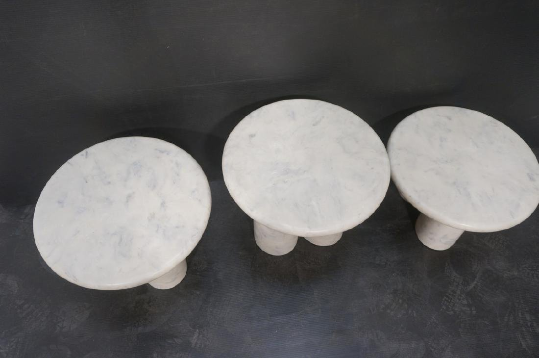 3 Faux Marble Resin Round Side Tables. 3 graduate - 4