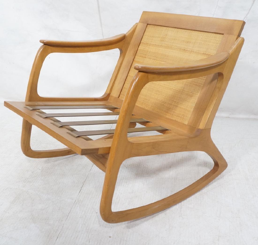 Modernist Wood Frame Rocker Rocking Chair Woven R