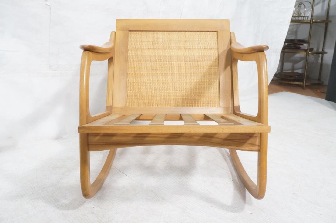 Modernist Wood Frame Rocker Rocking Chair Woven R - 2