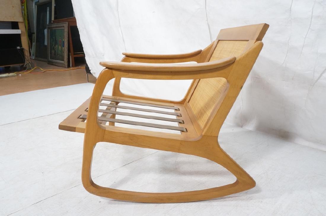 Modernist Wood Frame Rocker Rocking Chair Woven R - 3
