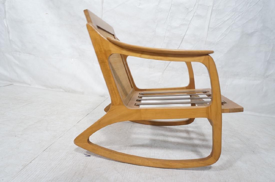 Modernist Wood Frame Rocker Rocking Chair Woven R - 5