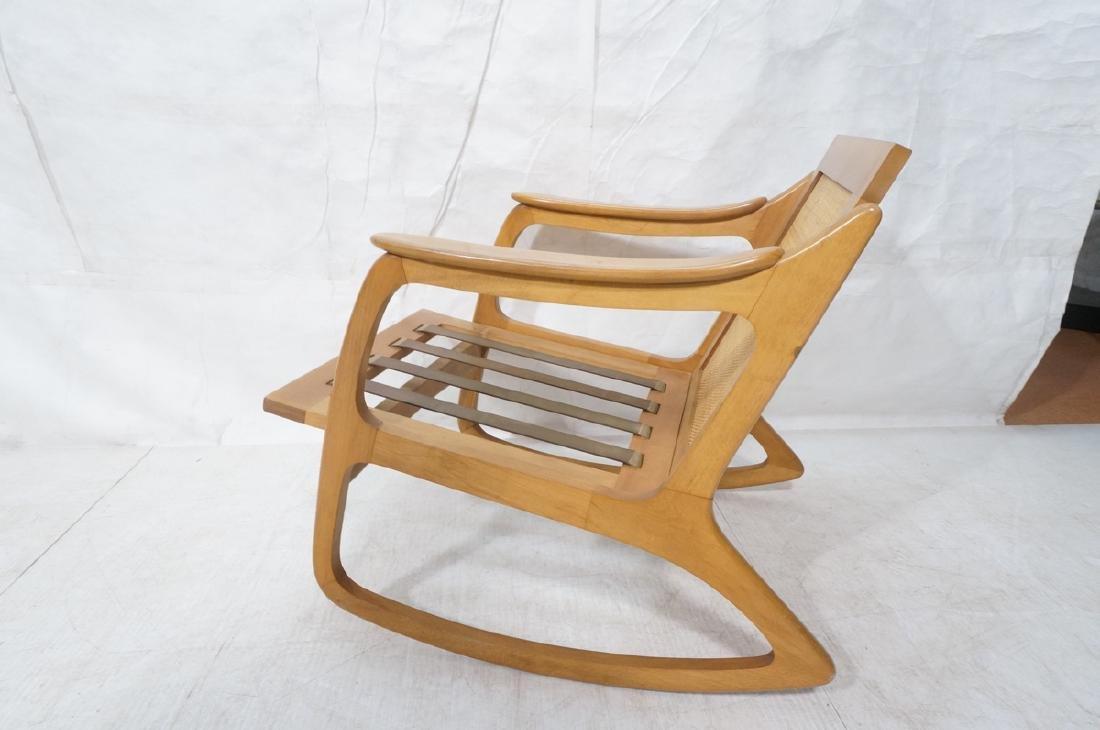 Modernist Wood Frame Rocker Rocking Chair Woven R - 6