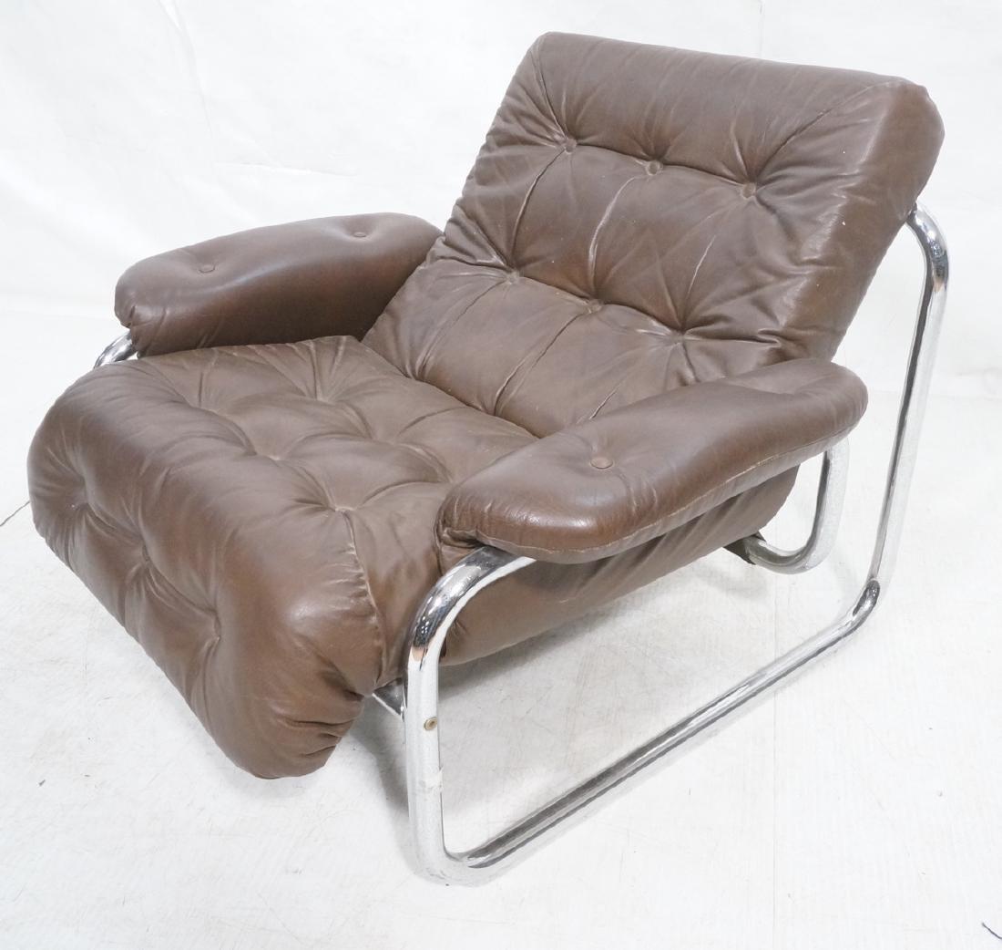 Brown Leather Chrome Frame Modernist Lounge Frame