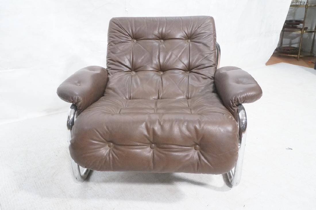 Brown Leather Chrome Frame Modernist Lounge Frame - 2